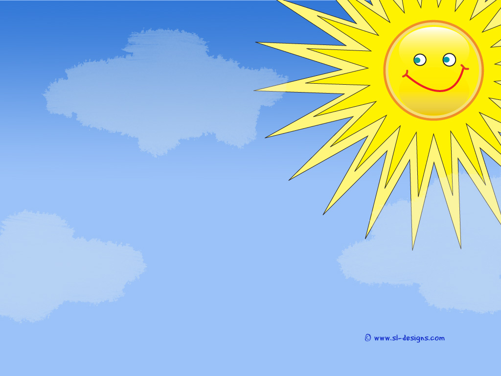 Smiley sun with  clouds