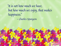 Happiness quote on wallpaper