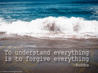 To understand everything is to forgive everything -Buddha