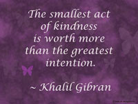 The smallest act of kindness is worth more than the greatest intention. ~ Khalil Gibran