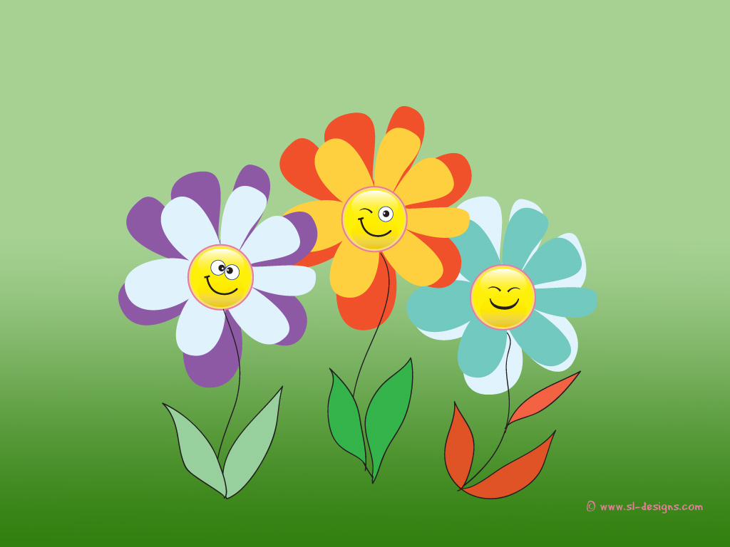 Smiley flowers wallpaper