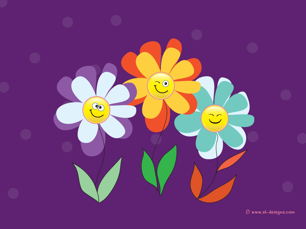 Smiley flowers on purple wallpaper