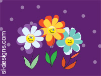 smiley flowers on purple