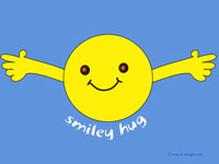 Smiley Hug on blue