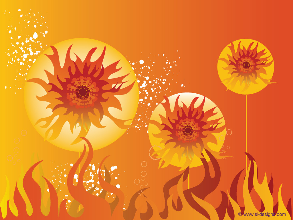 fire, flowers and sun wallpapers